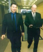 From left to right: Michael Kelly, CEO, Fineos; Tom Doherty, head of information systems, EBS